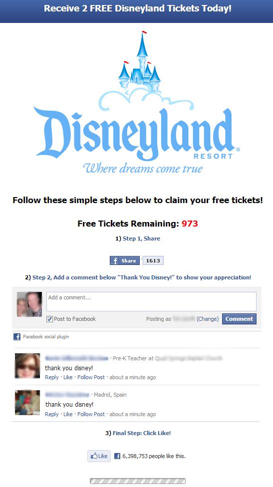 disneyland free tickets facebook