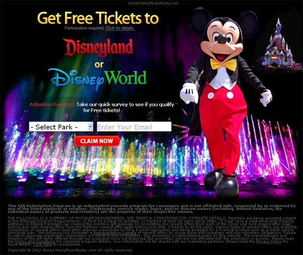 get 4 free disneyland tickets survey