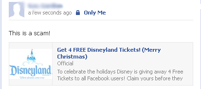 Get 4 FREE Disneyland Tickets (Merry Christmas) – Facebook Scam