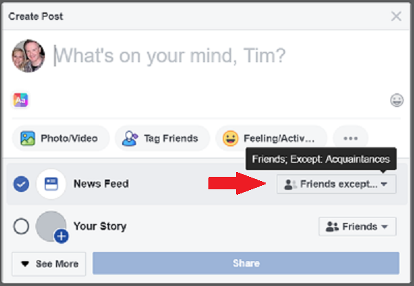 facebook hide posts from user