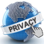 Privacy symbol with digital globe, 3d render