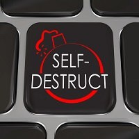 Self-Destruct Computer Keyboard Key Give Up Quit