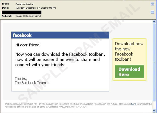 Toolbar Message - Fake Facebook