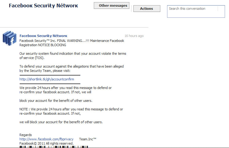 Message from facebook security