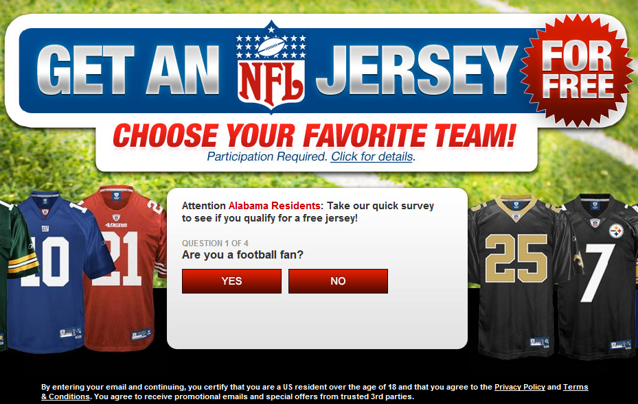 Get A Free NFL Jersey! - Facebook Scam