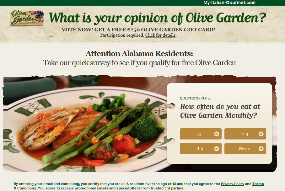 Get A Free 250 Olive Garden Gift Card