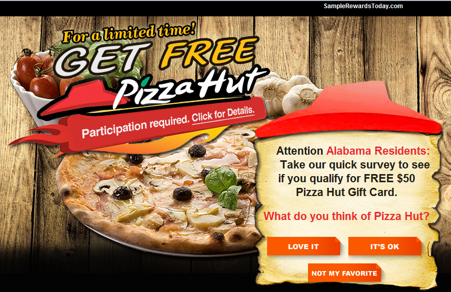 Get A Free $100 Pizzahut Gift Card! - Facebook Scam |