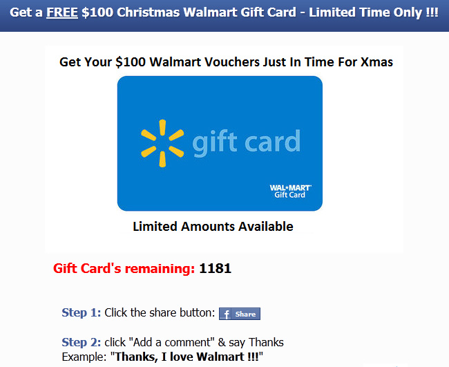 Get a free 1000 walmart gift card facebook scam walmartmain2 negle Images