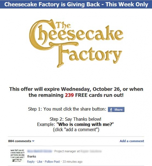Eat for Free at Cheesecake Factory! – Facebook Scam