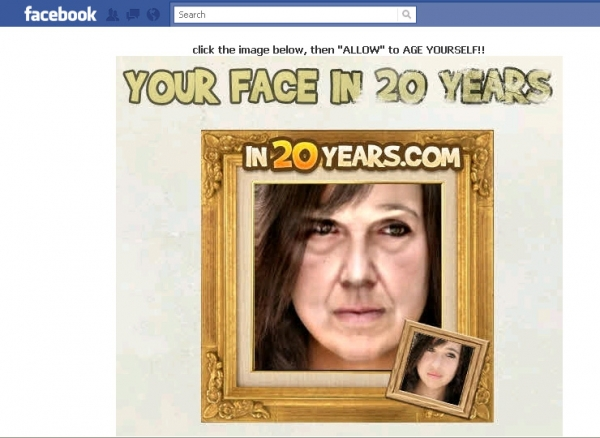 'AGE yourself! See what you will look like in 20 years!!' - Facebook Scam