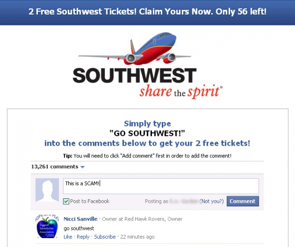 [SCAM ALERT] Get Your 2 Free Southwest Tickets Now! Ends Sunday