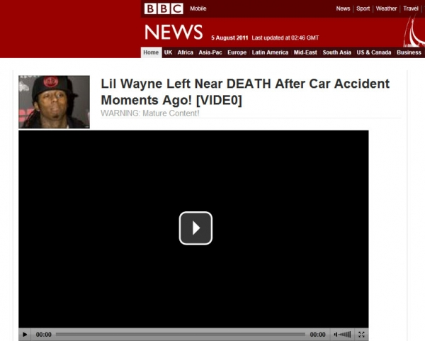 BREAKING: Lil Wayne Nearly Dies In FATAL Car Crash! – Facebook Scam