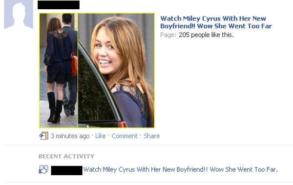 'Watch Miley Cyrus With Her New Boyfriend!! Wow She Went Too Far' Facebook Scam