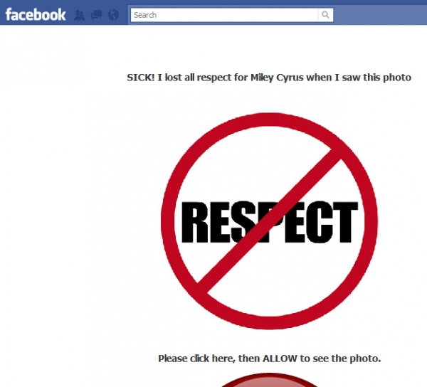 SICK! I lost all respect for Miley Cyrus when I saw this photo - Facebook Scam
