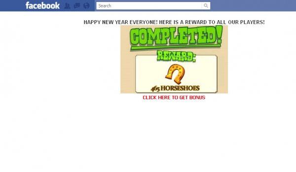 465 Free Horseshoes New Year Bonus [Zynga] (Click Here) - Facebook Scam