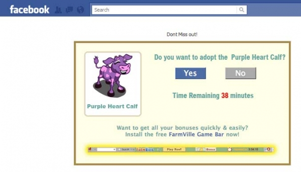 [SCAM ALERT] YEEHHAA The Farmville Purple Heart Cow!