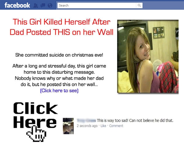 'This Girl killed herself after her dad Posted something on her wall!!' Facebook Scam