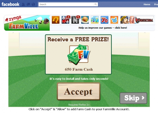 'Just wanted to tell you that Zynga is offering 650 Farmville Cash absolutely free this year. I got mine :D.' - Facebook Scam