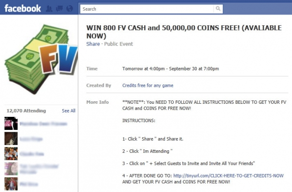 WIN 800 FV CASH and 50,000,00 COINS FREE! – Facebook Scam