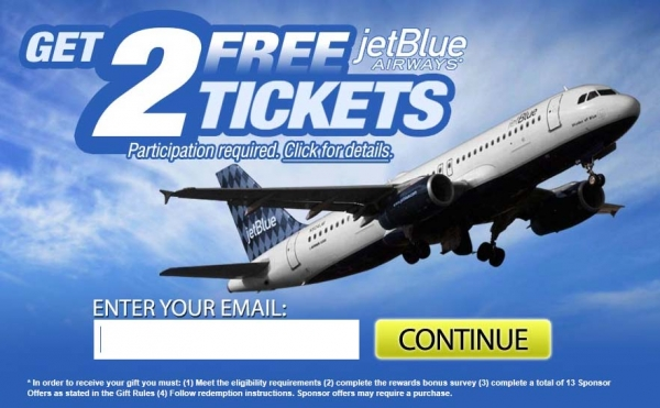 Get Two Free Jetblue tickets - Bogus Offer