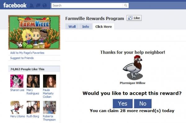 [SCAM ALERT]  Farmville Rewards Program - This rare Ptarmigan Willow needs a home, help him!