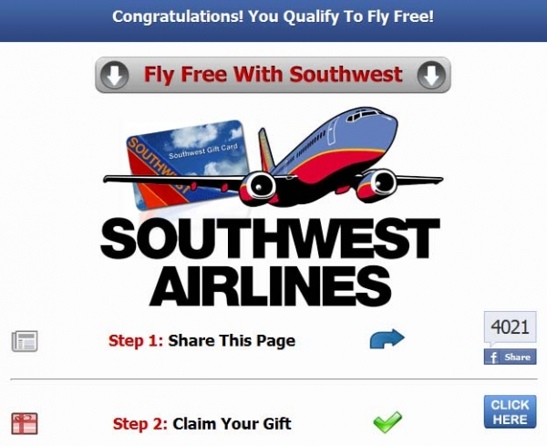 Southwest Airlines Gift Card Giveaway - Bogus Offer