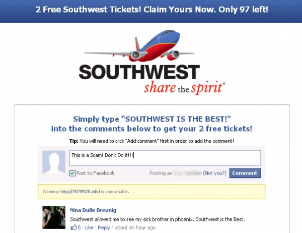 [SCAM ALERT] 2 FREE Southwest Airline Tickets!