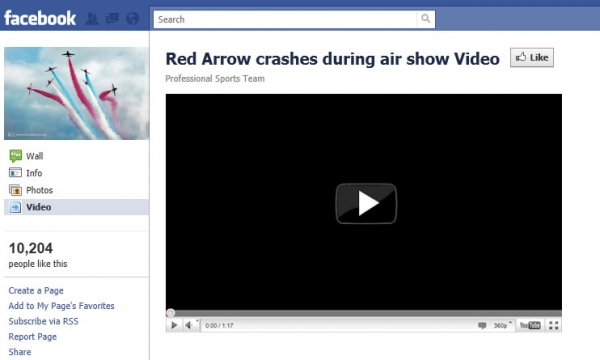 Red Arrow crashes during air show Video - Facebook Scam
