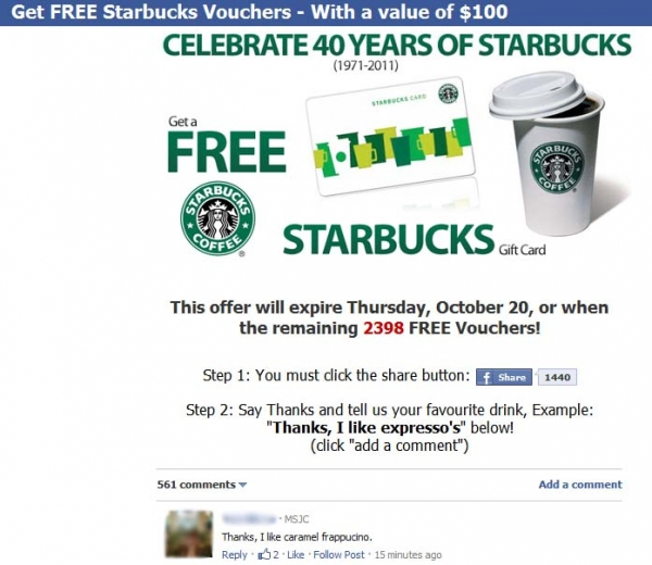 Get FREE Starbucks Vouchers – With a value of $100 – Facebook Scam