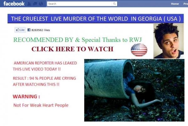 'The Cruelest Live murder of the World in Georgia and it has been Posted by American reporter !!--' - Facebook Scam