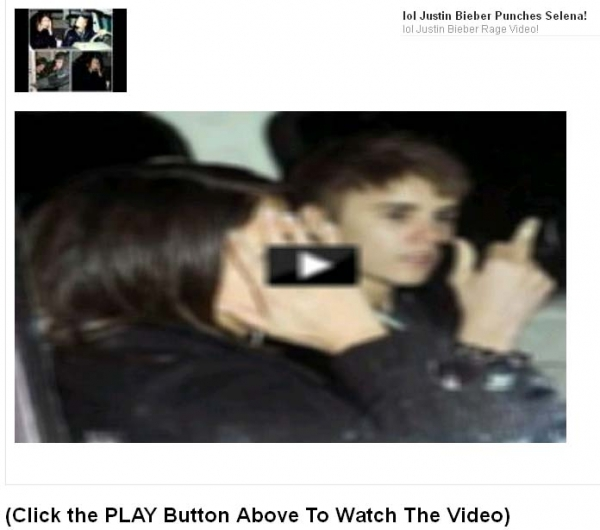 TMZ Reports Justin Bieber Punched Selena Gomez IN THE LIP!! Facebook Scam