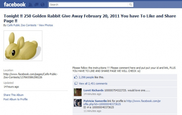 [UPDATE] Tonight !! 250 Golden Rabbit Give Away February 20, 2011 You have to Like and Share Page!!