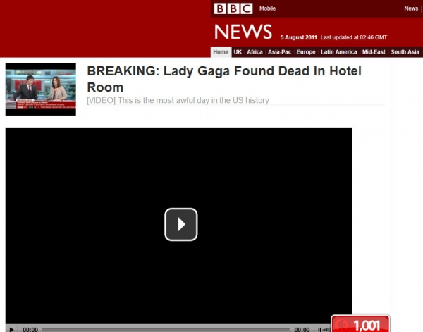 Lady Gaga Found Dead in Hotel Room – Facebook Scam