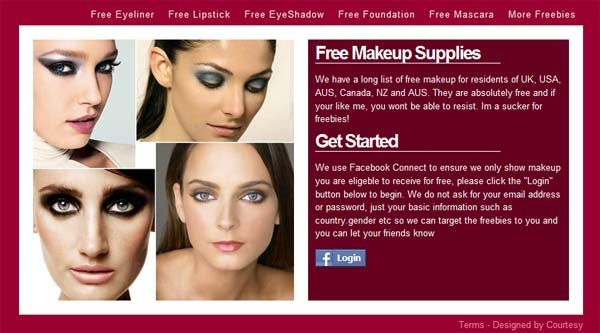 Free Makeup Facebook Scam