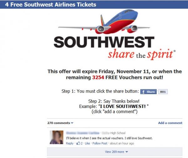 4 Southwest Tix – Facebook Scam