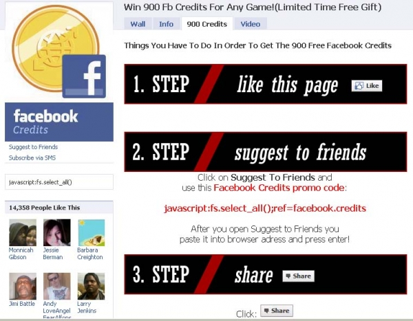'Win 900 Fb Credits For Any Game!(Limited Time Free Gift)' - Facebook Scam