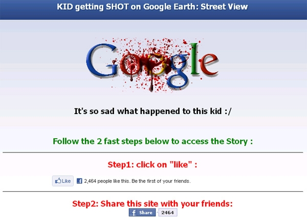 'SHOCKING - > Kid getting SHOT on Google Earth: Street View' - Facebook Scam