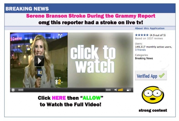[SCAM ALERT] This reporter had a stroke on live tv while reporting the Grammy Awards!