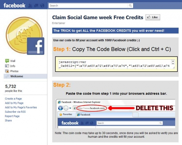 '1000 Free Facebook Credits' scams hit Facebook Full Force