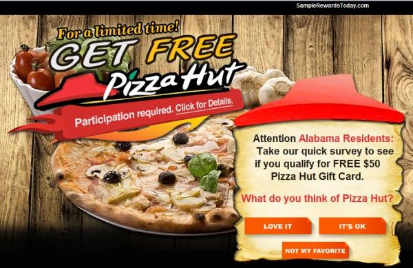 Get A Free  $100 Pizzahut Gift Card! - Facebook Scam