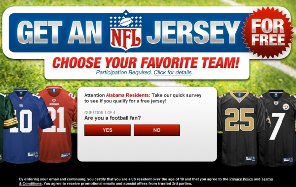 Get A Free  NFL Jersey! – Facebook Scam
