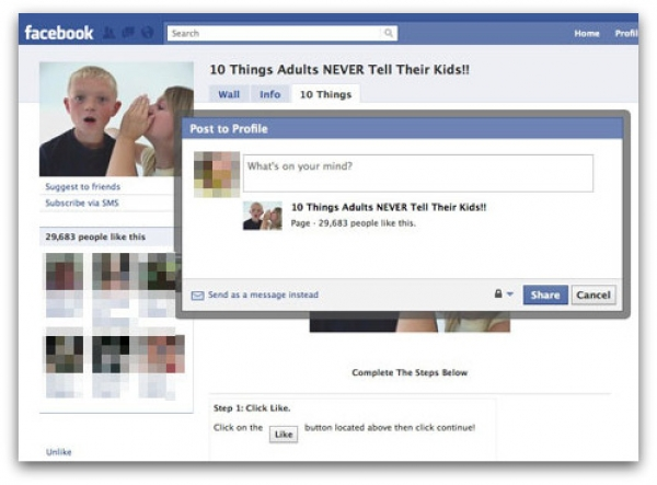'10 Things Adults Never Tell Their Kids' Facebook scam