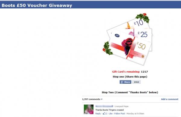 Boots 50 Voucher Giveaway – Facebook Scam