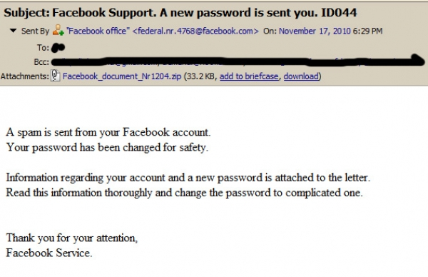 Facebook Spam Attack - New Email spreading Trojan Virus