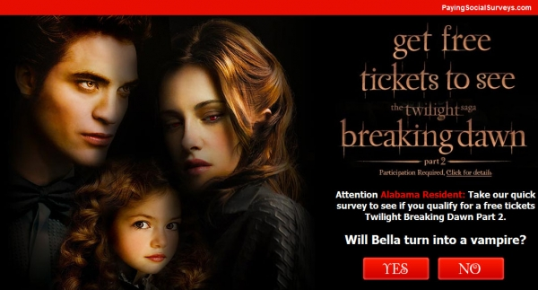 Get A Free Tickets to Twilight Breaking Dawn Part 2! - Facebook Scam