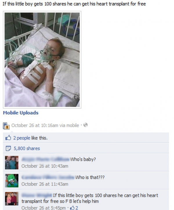 If this little boy gets 100 shares he can get his heart transplant for free - Facebook Hoax