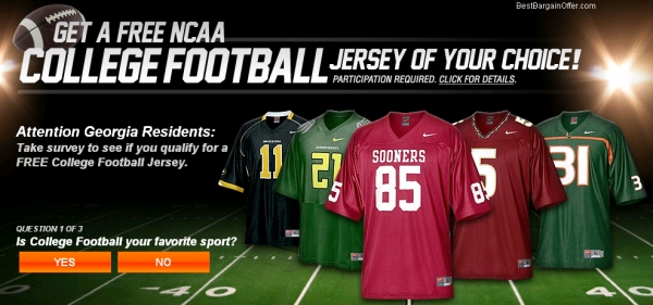 Get a Free NCAA College Football Jersey - Facebook Scam