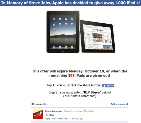 In Memory of Steve Jobs, Apple has decided to give away 1000 Limited Edition iPad 2's - Facebook Scam