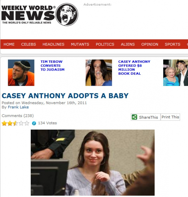 CASEY ANTHONY ADOPTS A BABY | Another Hoax by the Weekly World News